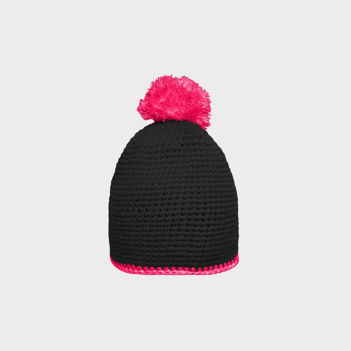 bommel-mütze-mit-kontrastband-black-pink-kaufen-besticken_stickmanufaktur